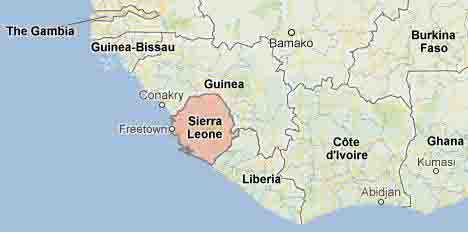 the geographical position of the country sierra leone Location: western africa, bordering the north atlantic ocean, between guinea  and liberia definition: this entry identifies the country's regional location,.
